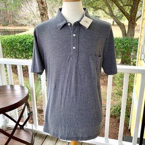 Faherty Striped Grey/White Polo Shirt. XL NWT!